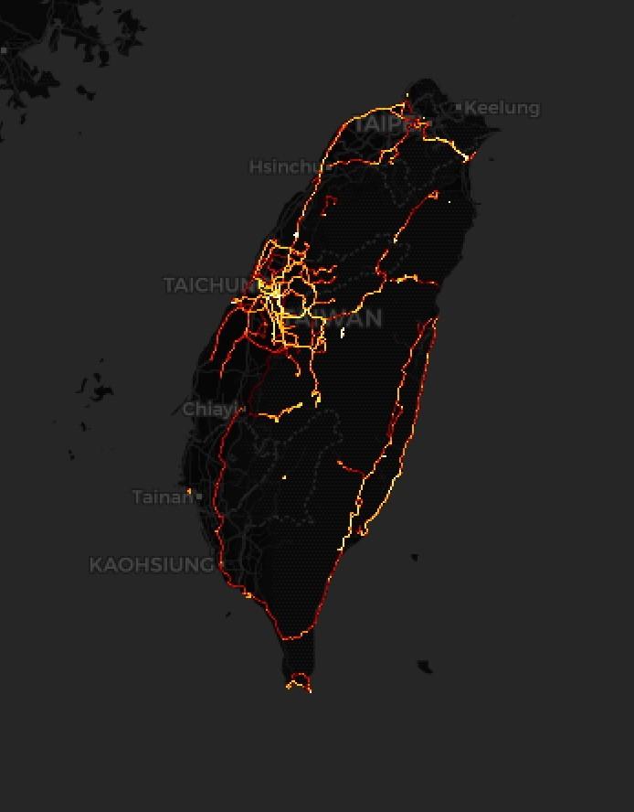 自行車數據平台所顯示的騎乘熱點